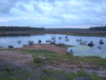 Australian Bass Tournament competitors await the starters gun on a chilly winters morning at Lake Lenthall, 38 competitors caught & released hundreds of Australian bass for the 6 hours of fishing.
